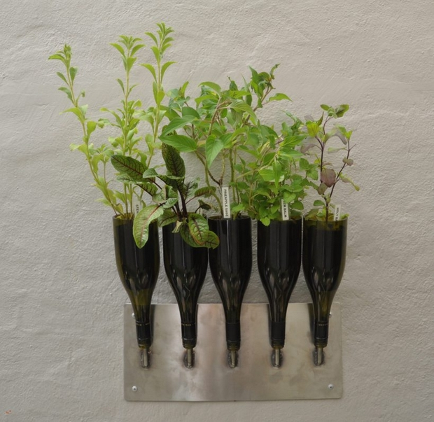 recycle wine bottles wall diy planter vase creative