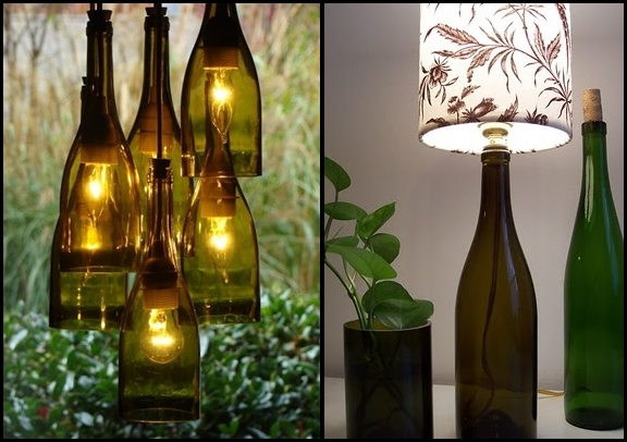 recycle wine glass bottles hanging diy lamp bedside table vase