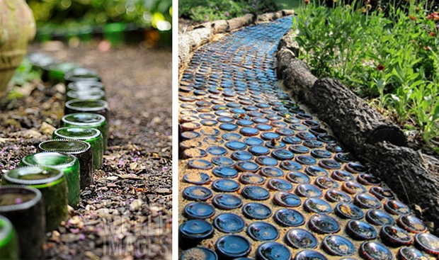 recycled glass bottles diy garden path border idea