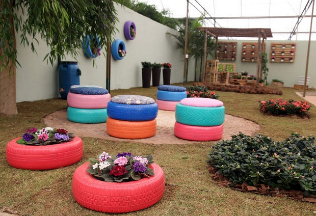 recycled tires garden ideas stool flower bed wall decor colourful - Garden Ideas Using Old Tires