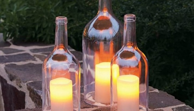 repurposed wine bottle candle lantern creative garden decoration idea