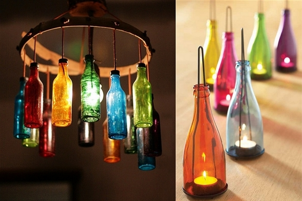 repurposed wine colorful hanging lamp bottles diy candle
