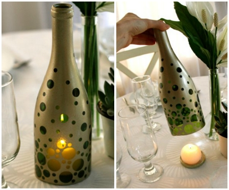 repurposed wine paint bottles diy candle holder table decoration upcycling ideas