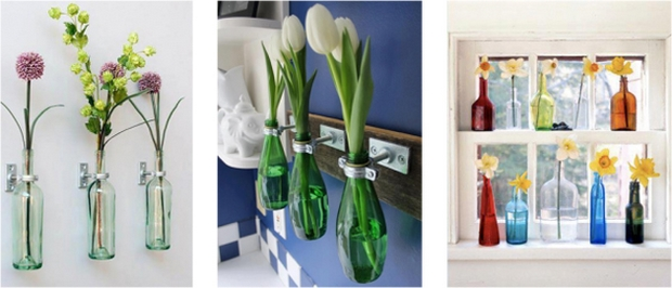 reuse glass bottles bathroom flower wall decoration tulip inspiring ideas