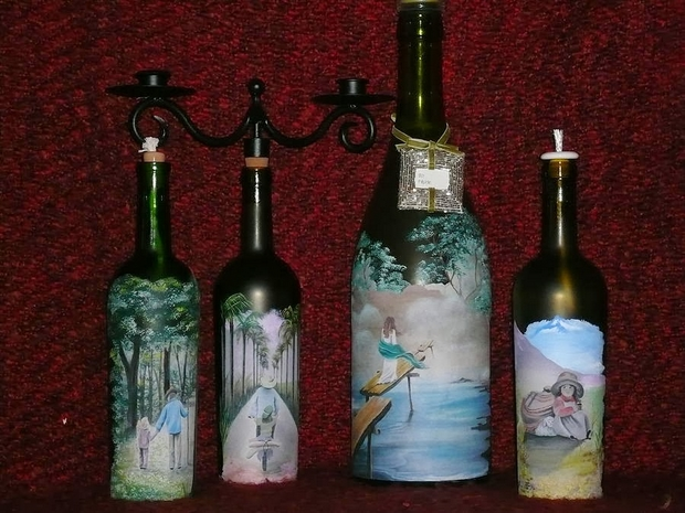 reuse craft glass bottles decorated iron candlestick painting