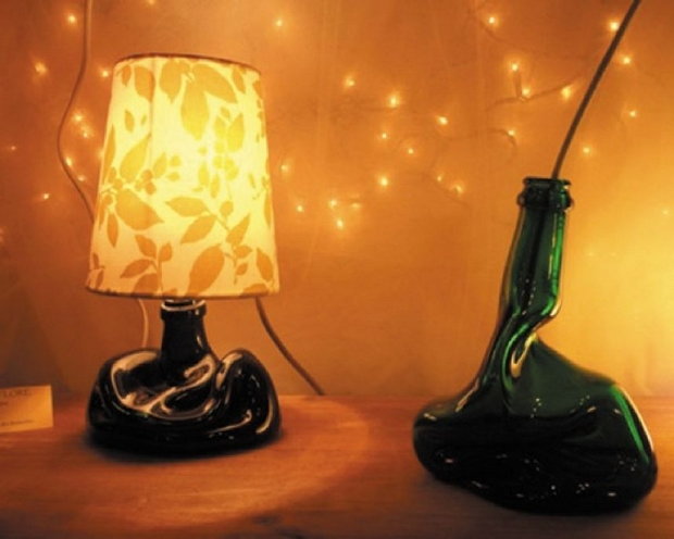 reuse glass bottles upcycled lamp melted bedside table