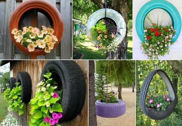 reuse tires garden flower container wall mounted hanging - Garden Ideas Using Tyres