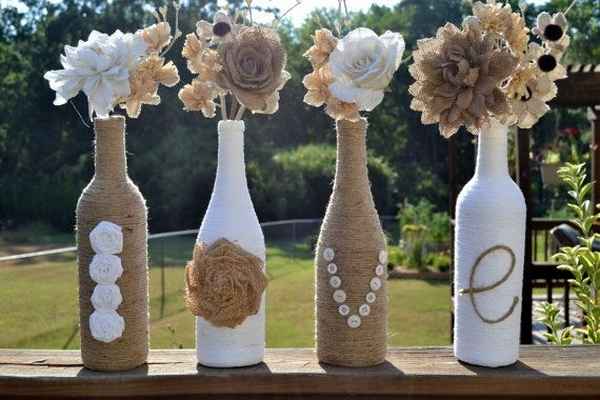 upcycled wine bottles vase creative flower home ideas