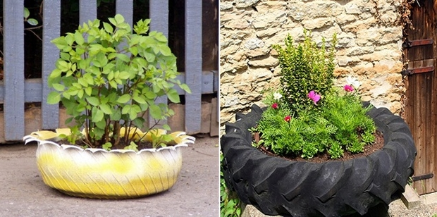 ways reuse old tires garden container plants