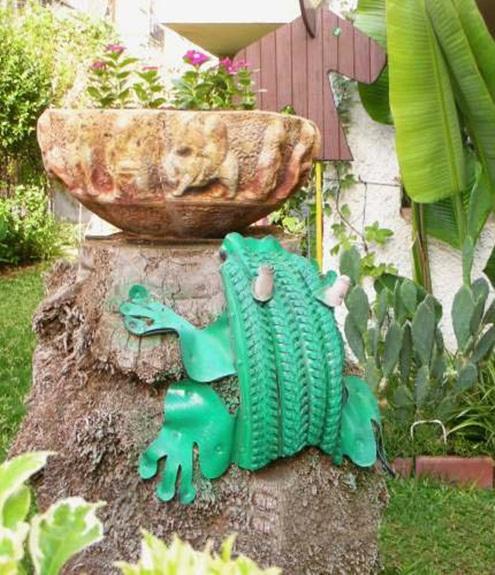 ways reuse old tires garden decoration green frog stone flower bowl
