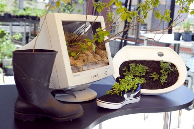 diy planters upcycling project old pc monitor shoe boot sink