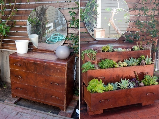 garden junk ideas old wooden chest of drawers reuse planter round mirror