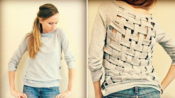 Upcycle old clothes repurpose gray sweater creative back easy diy craft
