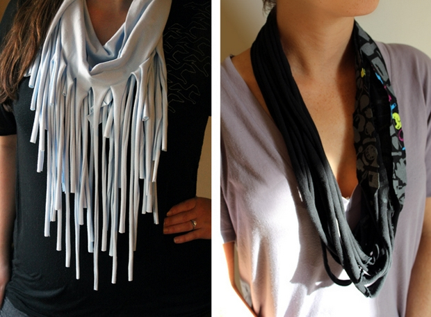 upcycled T-shirt ideas black scarves creative easy reuse