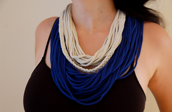 upcycled T-shirt ideas blue white scarves creative redesign
