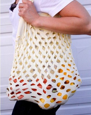 upcycled T-shirt ideas creative diy white shopping bag