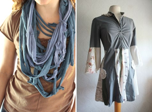 Upcycle old clothes T-shirt ideas scarves creative diy reuse decorate