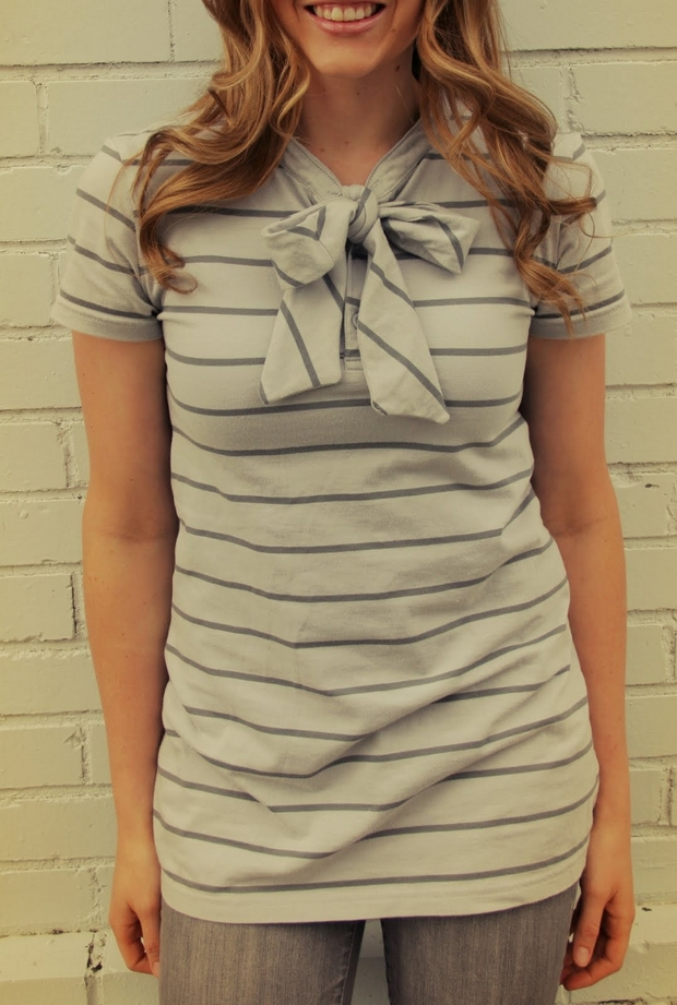 upcycling old gray t-shirt ideas neck ribbon