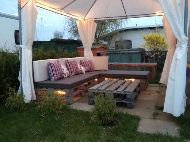 outdoor pallet furniture ideas creative backyard patio white tent colorful cushion pillows