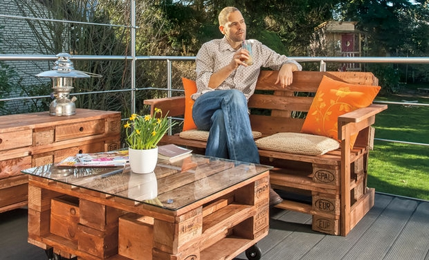 outdoor pallet furniture ideas creative garden armchair wooden table glass top - Garden Ideas With Pallets
