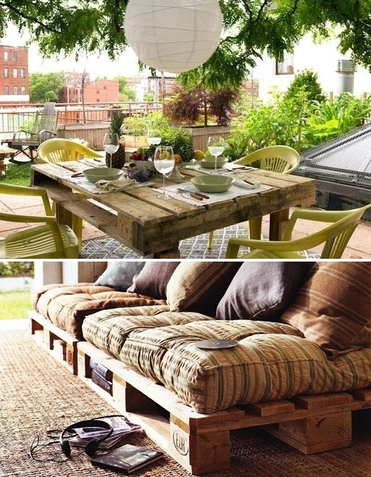 Outdoor Pallet Furniture Ideas Decorated Backyard Table Yellow Plastic  Chairs