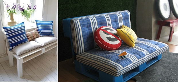 pallet furniture ideas white wooden bench blue cushion