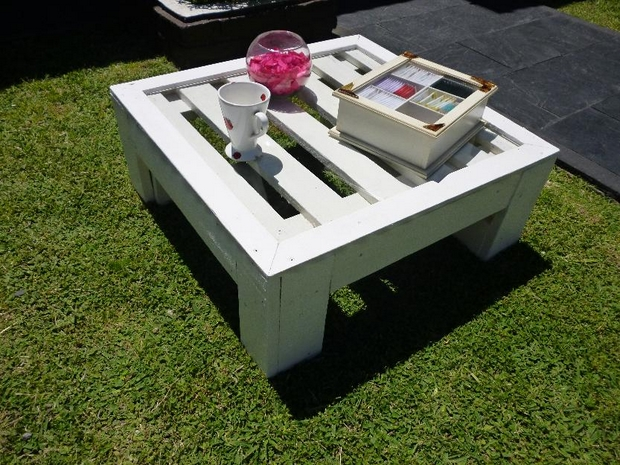 reuse diy shipping pallet white decorated garden table