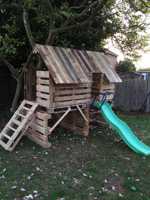 reused pallet furniture playhouse kids slide garden creative ideas