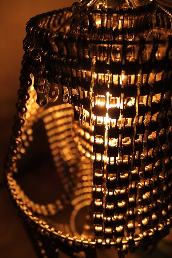 Cool Upcycling Design - Recycled Bicycle Chain Chandeliers