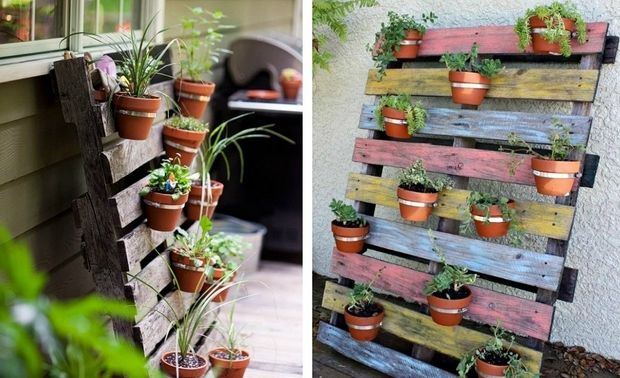Vertical Colorful Painted Pallet Garden Flower Pots Upcycled Creative Ideas