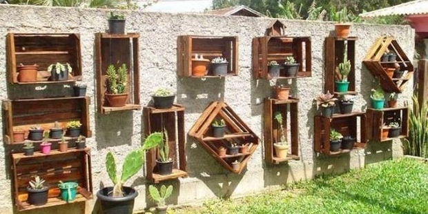 Vertical Creative Garden Wooden Crates Grey Wall Lawn Diy Succulents Decoration
