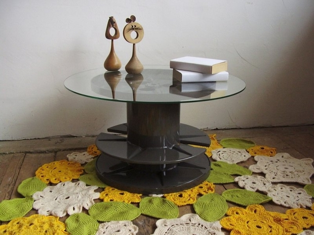 electric spool table glass top repurposed diy ideas