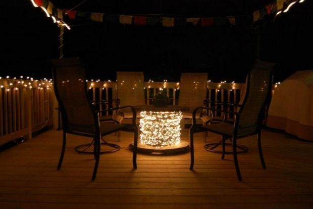 wire spool table light decoration creative diy terrace furniture