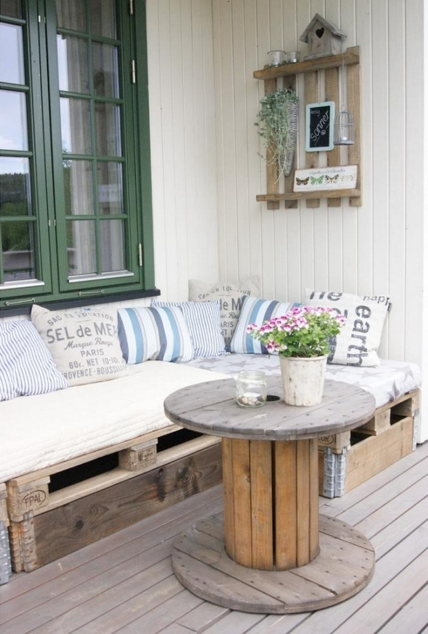 wire spool table reused pallet bench white cushions flower centerpiece