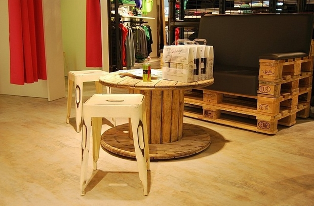 wire spool tables upcycled pallet sofa wooden chairs