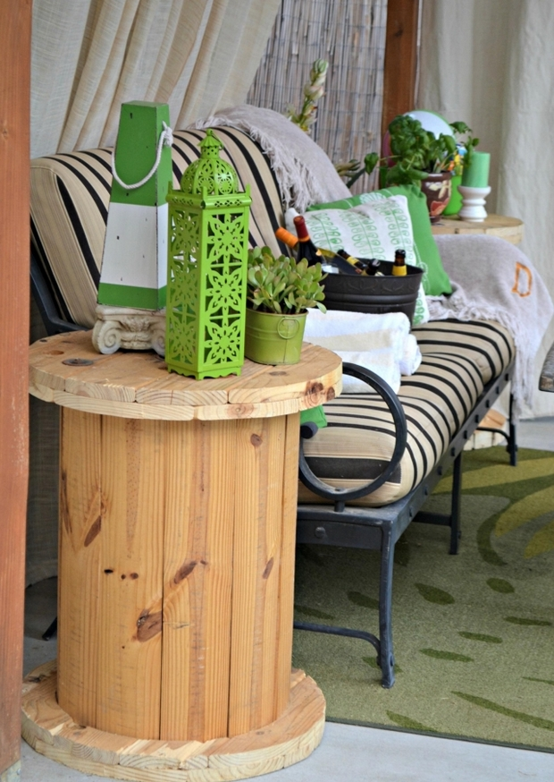 wooden cable spool table creative sofa ideas diy terrace decoration