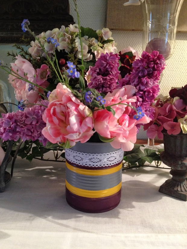 colorful painted diy tin can craft ideas home flower decor
