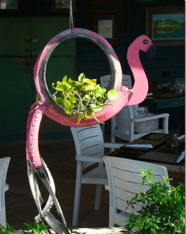 Tire recycling ideas creative hanging repurposed tire decoration pink cute flamingo plants handmade planter garden chairs