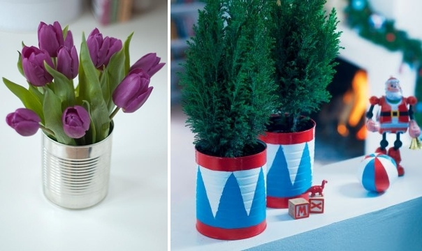 creative upcycle tin cans christmas ideas tulips decorated table centerpiece
