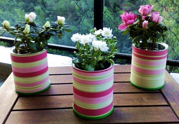 decorated fabric tin can craft ideas home table centerpieces flower vases