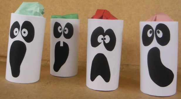 halloween crafts for kids repurposed toilet paper roll ghost decoration ideas - Halloween Decoration Crafts