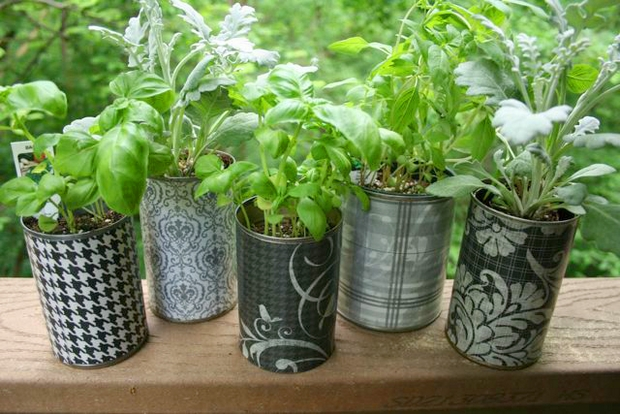 mini tin can decorated container flower garden