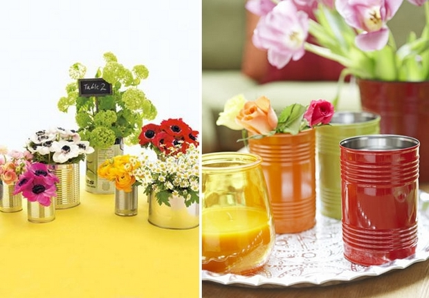 painted recycled mini tin cans flower decor table centerpiece vases