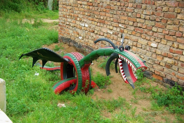 recycling tire dragon made of old reused unwanted tires