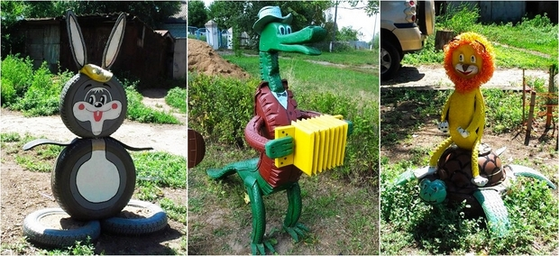 reuse tires cute grey rabbit green tire crocodile diy reused tires yellow lion turtle