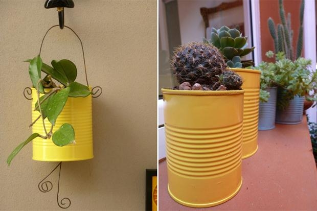 yellow painted tin can craft ideas cactus decoration vases