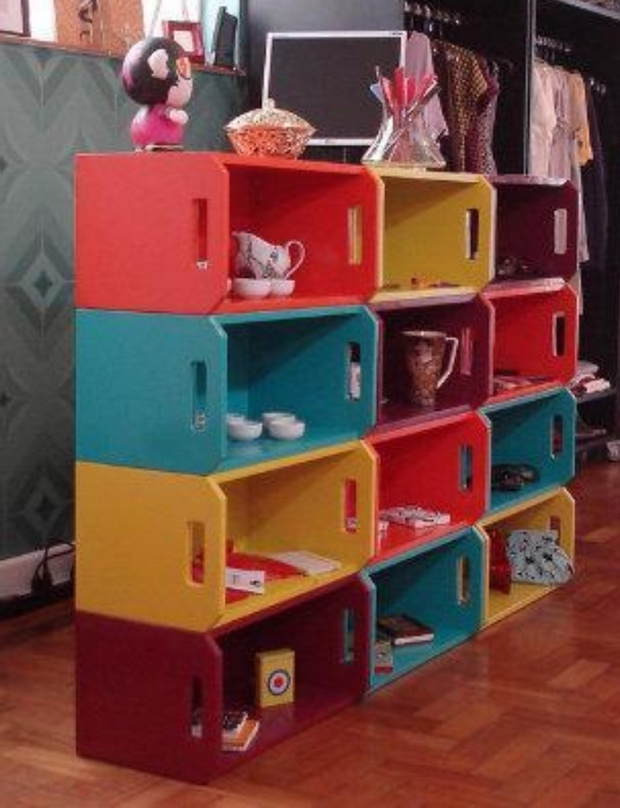 old colorful painted wooden boxes shelves divider creative ideas