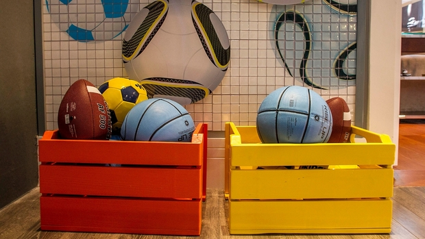 recycled old wooden colorful crate sport balls containers decorating ideas