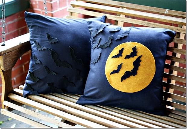 reused blue decorative halloween pillows ideas black bats scary moon - Halloween Pillows