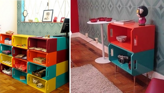upcycled colorful painted wooden crates indoor shelves boxes creative ideas